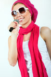 Singing young woman Stock Images