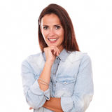 Single adult brunette smiling at you stock photography