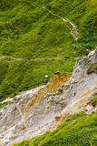 Single alone man hiking in Dorset cliffs royalty free stock photography
