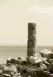 Single ancient greek column, vintage hue Royalty Free Stock Image