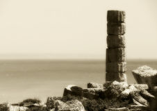 Single ancient greek column, vintage hue Stock Photo