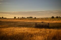 Antique hay rake in a farmers field at sunset. royalty free stock images