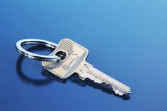 Single Apartment Key with Ring Royalty Free Stock Images