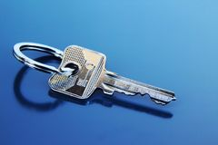 Single Apartment Key with Ring Stock Photography
