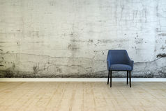 Single armchair in front of a stained wall. With cracked plaster and mildew from damp on a worn wooden parquet floor in a grunge architectural background with stock illustration