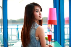 Single asian young woman. Single Chinese young woman with smile royalty free stock image