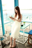 Single asian young woman royalty free stock images