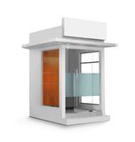 Single ATM booth. ATM booth or glass construction building against white background Stock Photography