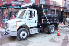 Single Axle Truck Chassis Equipped with Dump Body Stock Photos