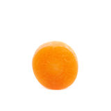 Single baby carrot slice isolated. Over the white background Royalty Free Stock Photo