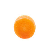 Single baby carrot slice isolated. Over the white background Royalty Free Stock Image