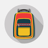 Single backpack icon with long shadow on gray background Stock Images