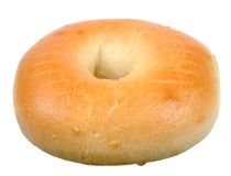 Single bagel. Isolated on white royalty free stock photos