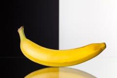 Single banana isolated on black and white background Royalty Free Stock Image