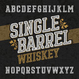 Single barrel whiskey label font with sample design. Ideal for any labels design in vintage style such as whiskey, absinthe, scotch, gin, rum or bourbon Royalty Free Stock Photography
