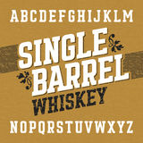 Single barrel whiskey label font with sample design. Ideal for any labels design in vintage style such as whiskey, absinthe, scotch, gin, rum or bourbon Stock Image