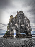 Single basalt rock (stack) in Iceland's fjord Stock Photography