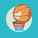Single basketball in basket flat design Royalty Free Stock Images