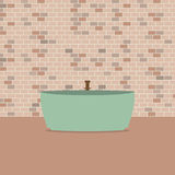 Single Bathtub In Front Of Brick Wall Royalty Free Stock Photography