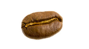 Single bean. Macro shot of a single roasted coffee bean isolated over white stock photos