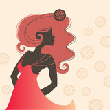 Single beautiful woman sideview silhouette Royalty Free Stock Photo