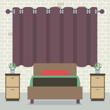 Single Bed In Front Of Curtain And Brick Wall Stock Image