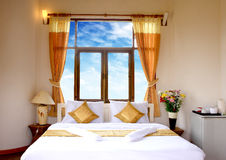 Single Bed Neatly Done Up In A High Class Hotel Ro Royalty Free Stock Images