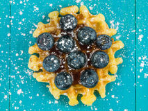 Single Belgian Butter Waffle With Fresh Blueberries Royalty Free Stock Photo