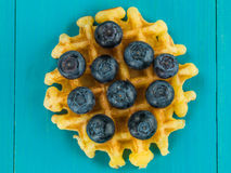 Single Belgian Butter Waffle With Fresh Blueberries Stock Image