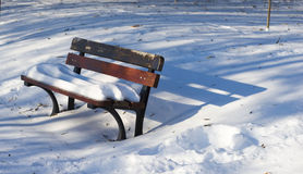 Single bench covered with snow in winter park Royalty Free Stock Photos