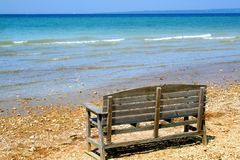 Single Bench By Lake Stock Photos