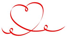 Single Big Red Heart Calligraphy Two Swirls vector illustration