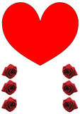 Single, big red heart and six red roses Stock Photo