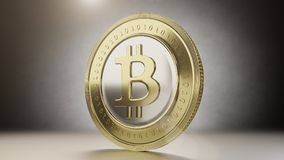 Single bitcoin coin close up . 3D render Royalty Free Stock Images