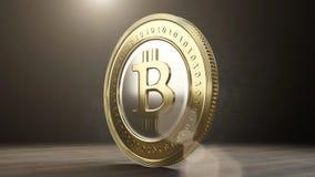 Single bitcoin coin close up . 3D render Stock Photos