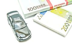 Single black car on euro notes Royalty Free Stock Photo