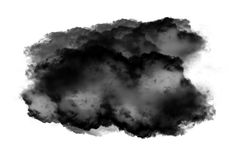 Single black cloud of smoke over white background. Single black cloud of smoke isolated over white background, realistic smoke 3D illustration. Smoky shape Royalty Free Stock Images