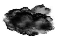 Single black cloud of smoke over white background. Single black cloud of smoke isolated over white background, realistic smoke 3D illustration. Smoky shape Royalty Free Stock Photos