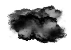 Single black cloud of smoke over white background. Single black cloud of smoke isolated over white background, realistic smoke 3D illustration. Smoky shape Stock Photos