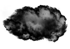 Single black cloud of smoke over white background. Single black cloud of smoke isolated over white background, realistic smoke 3D illustration. Smoky shape Royalty Free Stock Photo