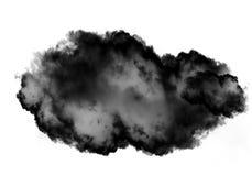 Single black cloud of smoke over white background. Single black cloud of smoke isolated over white background, realistic smoke 3D illustration. Smoky shape Stock Photo