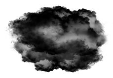 Single black cloud of smoke over white background. Single black cloud of smoke isolated over white background, realistic smoke 3D illustration. Smoky shape Stock Images