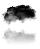 Single black fluffy cloud with its reflection flying over white Royalty Free Stock Photo