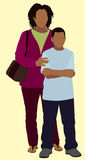Single Black Mother with Son Stock Image