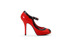 Single black and red stiletto high heel shoe. A single black and red stiletto high heel shoe on a white background Stock Images