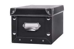 Single black storage box isolated on white Stock Photos
