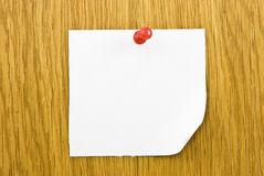 Single blank note paper attached Royalty Free Stock Image