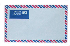 Single blue Airmail Envelope. Blue Airmail Envelope with red and navy boarder Stock Images
