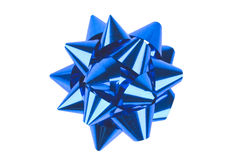 Single blue bow Royalty Free Stock Images