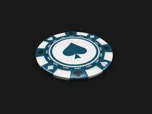 Single blue casino chip with spade signes isolated balck background. 3d Illustration Royalty Free Stock Images